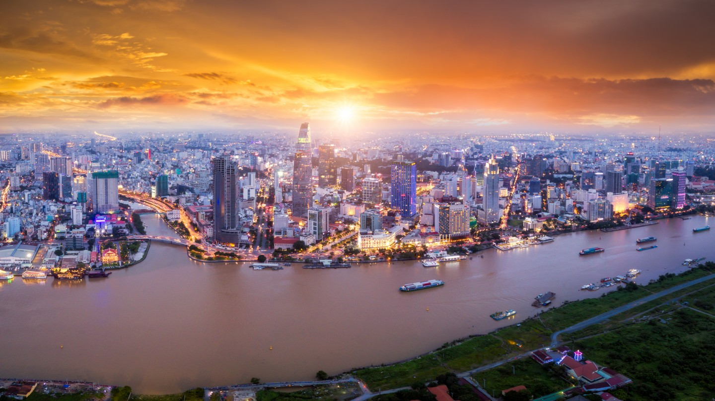 An aerial view of Ho Chi Minh City's skyline and skyscrapers. (iStock)