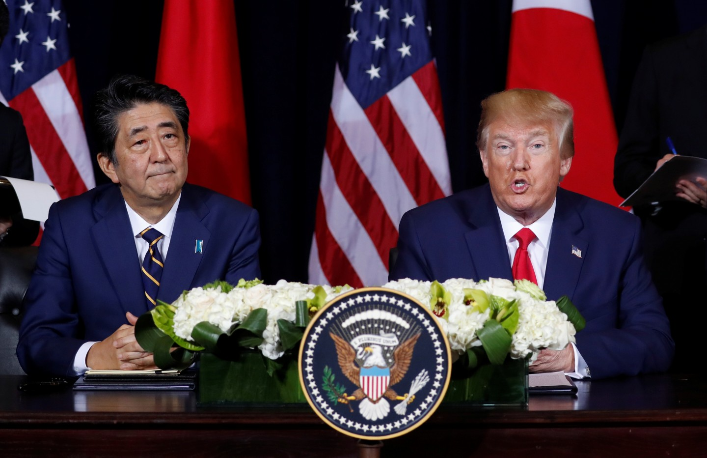 U.S. President Donald Trump speaks to reporters as he holds a bilateral meeting with Japan's Prime Minister Shinzo Abe on the sidelines of the 74th session of the United Nations General Assembly (UNGA) in New York City, New York, U.S., September 25, 2019. REUTERS/Jonathan Ernst