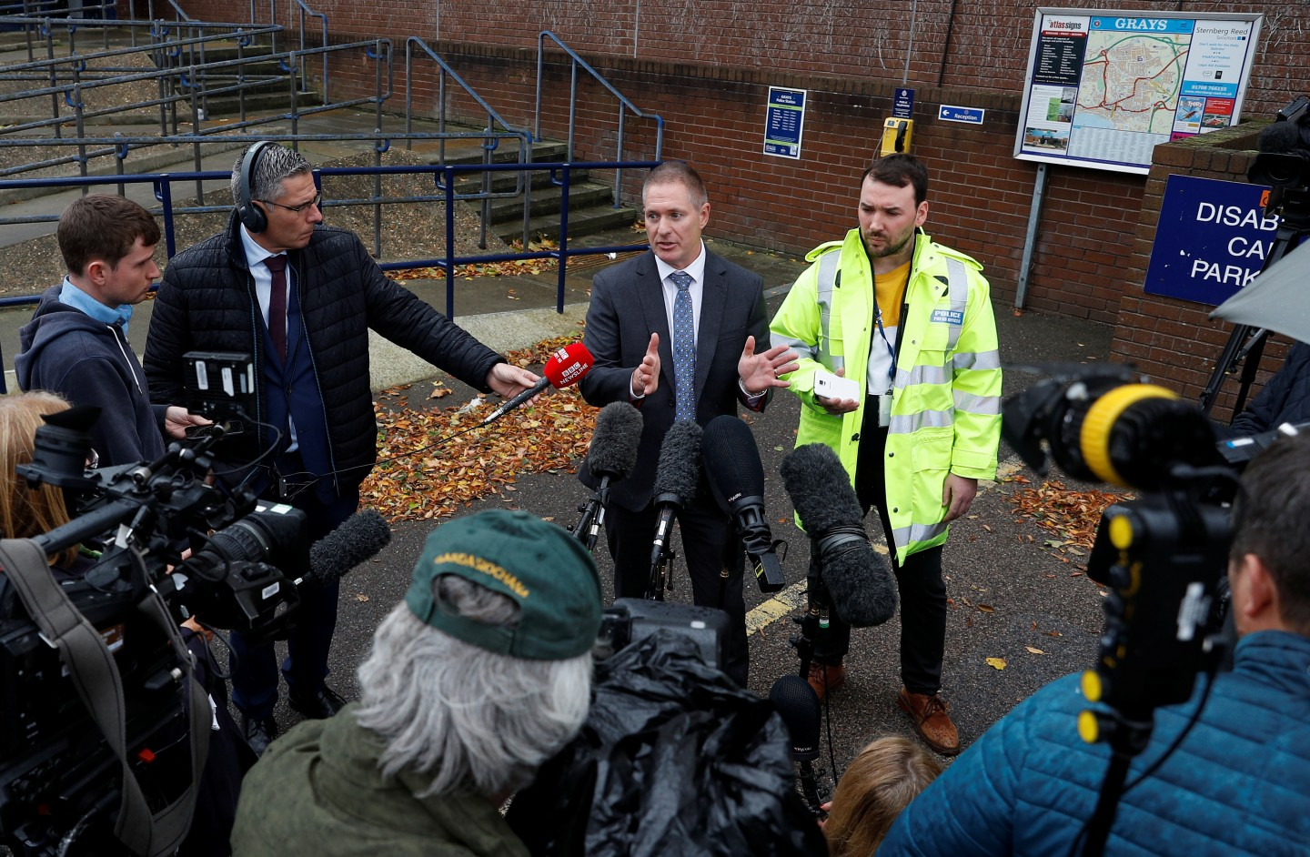 Detective Inspector Martin Pasmore of Essex police speaks to the news media at Grays police station regarding the deaths of thirty-nine immigrants who were found inside a lorry, Essex, Britain October 26, 2019. REUTERS/Peter Nicholls