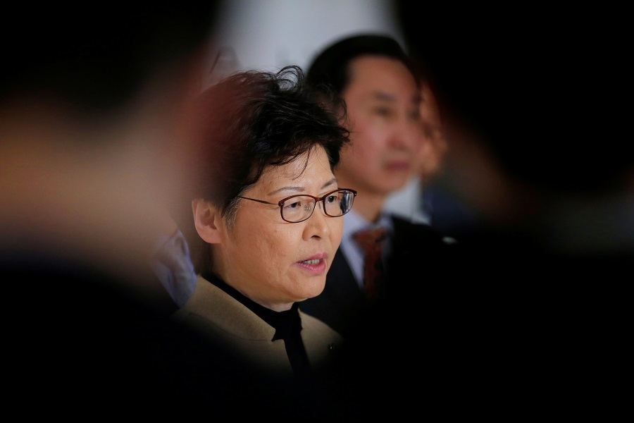 Focused close up of Chief Executive Carrie Lam