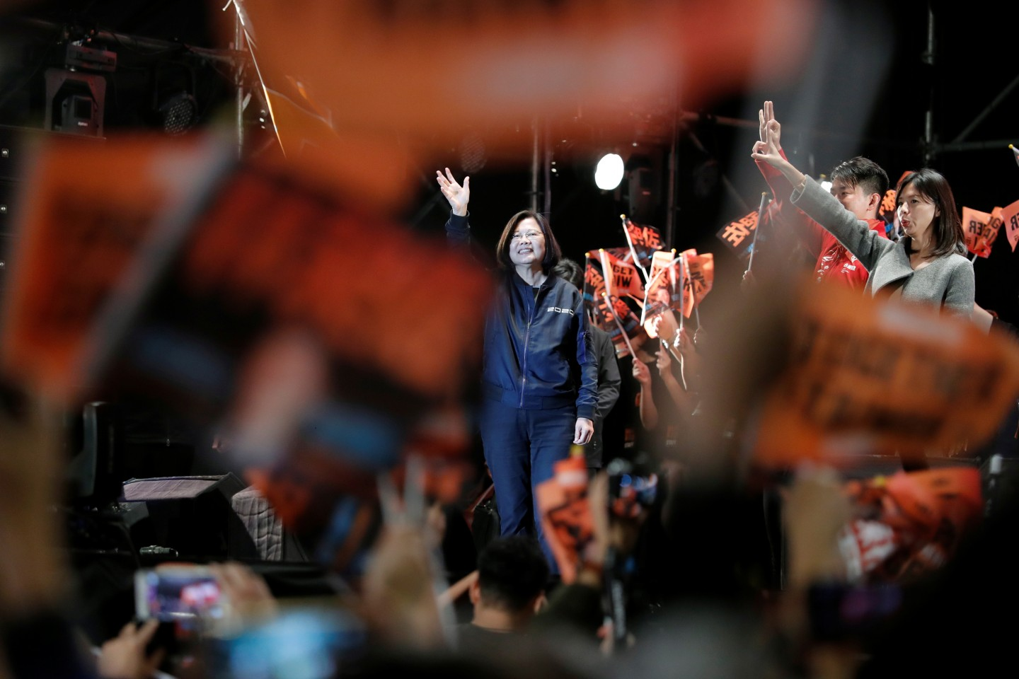 Taiwan President Tsai Ing-wen attends a campaign rally ahead of the presidential election in Taipei, Taiwan on December 21, 2019. (Tyrone Siu/Reuters)