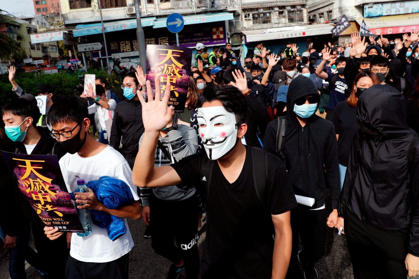 There seems to be no end to Hong Kong's unrest at present. Anti-government protesters are seen marching at an anti-parallel trading protest at Sheung Shui, a border town in Hong Kong on January 5, 2020. (Tyrone Siu/Reuters)
