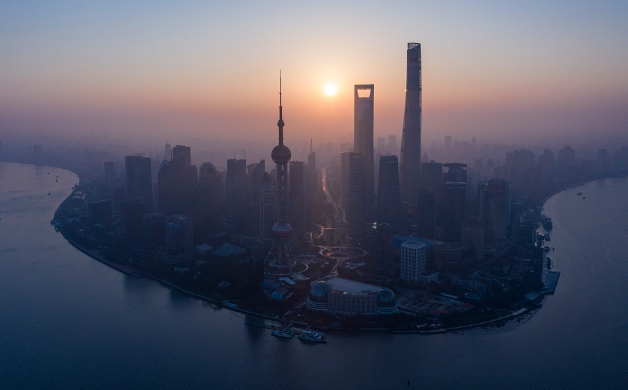The skyline of Shanghai's Lujiazui Financial District of Pudong