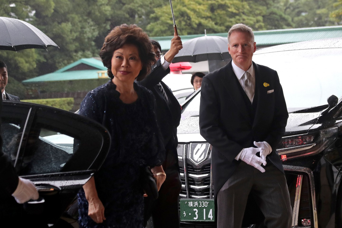 US Transportation Secretary Elaine Chao arrives at the Imperial Palace to attend the proclamation ceremony of Japan's Emperor Naruhito's ascension to the throne in Tokyo on October 22, 2019. (Photo by Koji Sasahara / POOL / AFP)