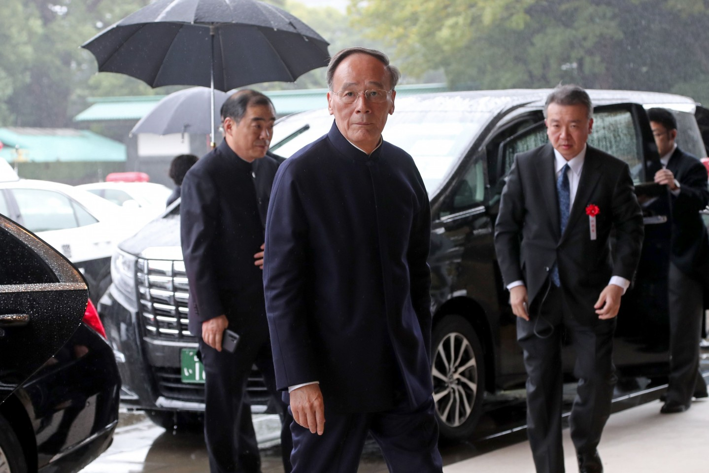 China's Vice President Wang Qishan arrives at the Imperial Palace to attend the proclamation ceremony of Japan's Emperor Naruhito's ascension to the throne in Tokyo on October 22, 2019. (Photo by Koji Sasahara / POOL / AFP)