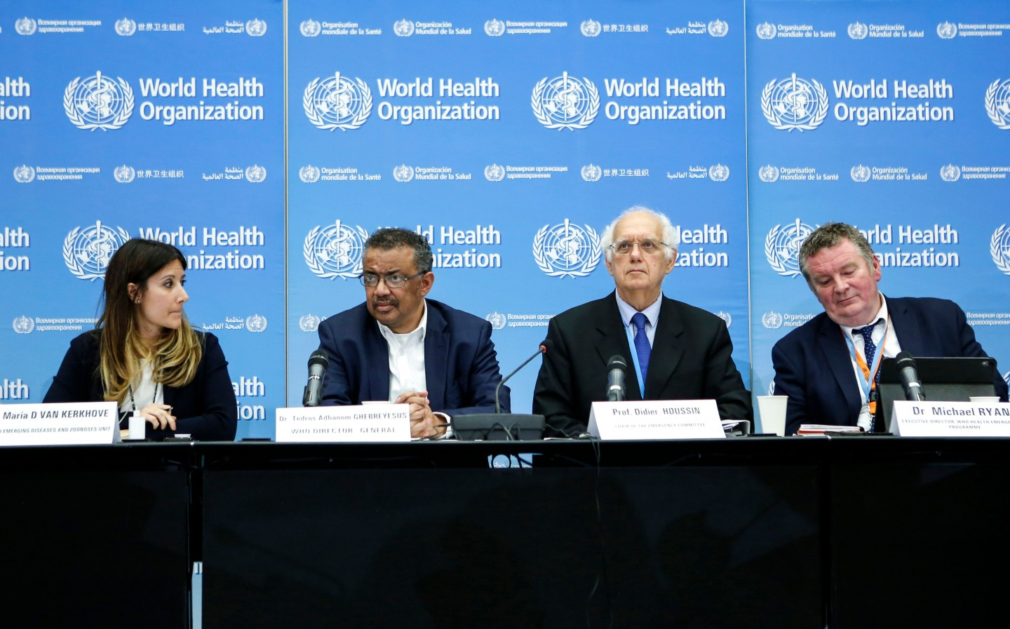 Taiwan has been trying to gain membership into the WHO. In this photo taken on 22 January 2020 in Geneva, (left to right) Dr. Maria D Van Kerkhove, Tedros Adhanom Ghebreyesus, Professor Didier Houssin, and Michael Ryan sit together for a press conference following an emergency committee meeting over 2019-nCoV spreading in China and other nations. (Pierre Albouy/AFP)