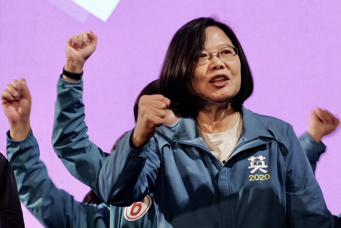 This photo taken on January 5, 2020 shows Tsai Ing-wen gesturing during a campaign rally at the Xinzhuang Stadium in New Taipei City. (Sam Yeh/AFP)