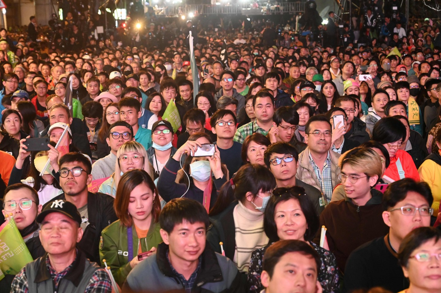 Supporters of Taiwan President Tsai Ing-wen celebrate outside the campaign headquarters in Taipei on 11 January 2020. (Sam Yeh/AFP)