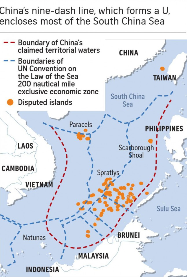 The most vexing part of the dispute is China's nine-dash line. (SPH)