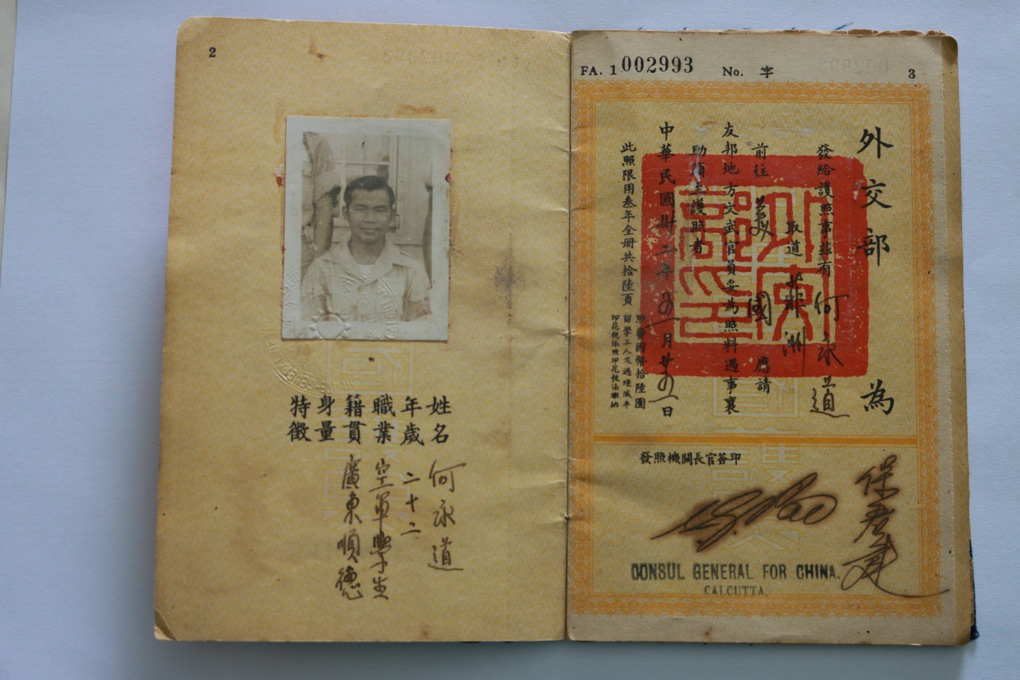 Page from Chinese Passport, 1943