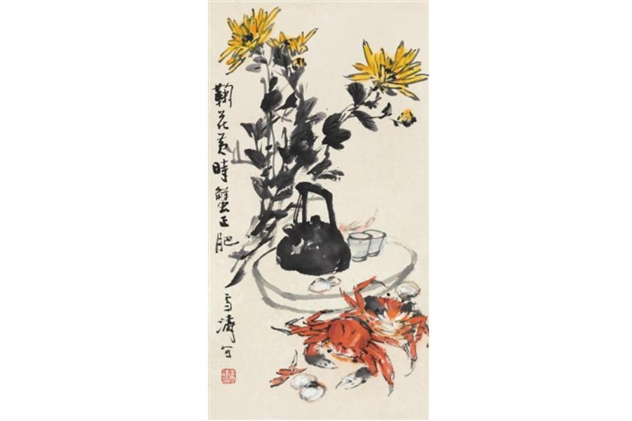Wang Xuetao, Blooming Yellow Chrysanthemums, Spawning Hairy Crabs (《菊花黄时蟹正肥》). (Internet: http://www.artnet.com/artists/wang-xuetao/juhuahuangshixiezhengfei-QXtYfodIiJyALGae4RjJAg2)