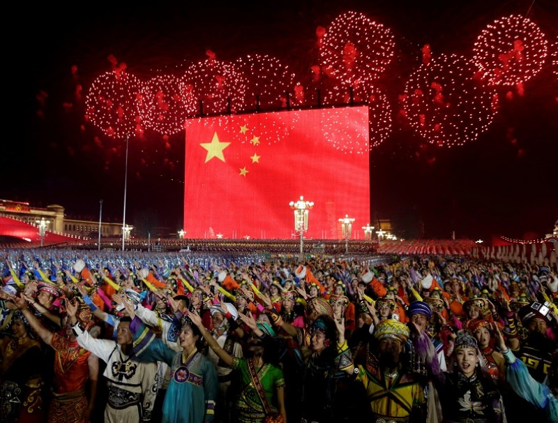 Fireworks at Tiananmen Square during the evening gala of the PRC's 70th anniversarycelebrations (Jason Lee/Reuters)